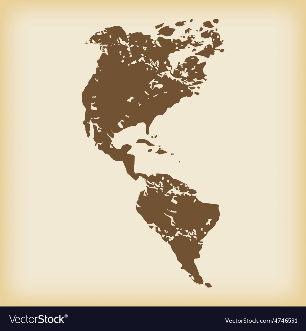Grungy american continents icon vector | Price: 1 Credit (USD $1)