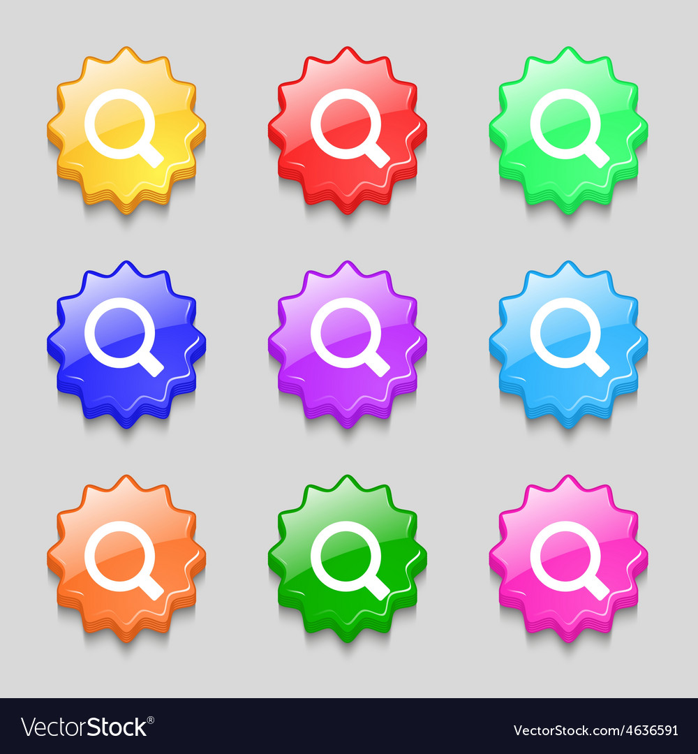 Magnifier glass icon sign symbol on nine wavy vector | Price: 1 Credit (USD $1)