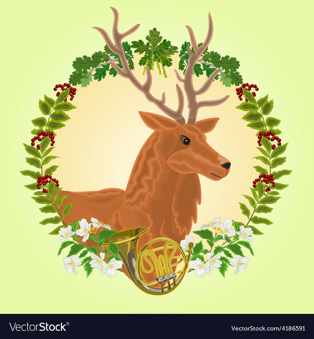 Reindeer head leaves and french horn vector | Price: 1 Credit (USD $1)