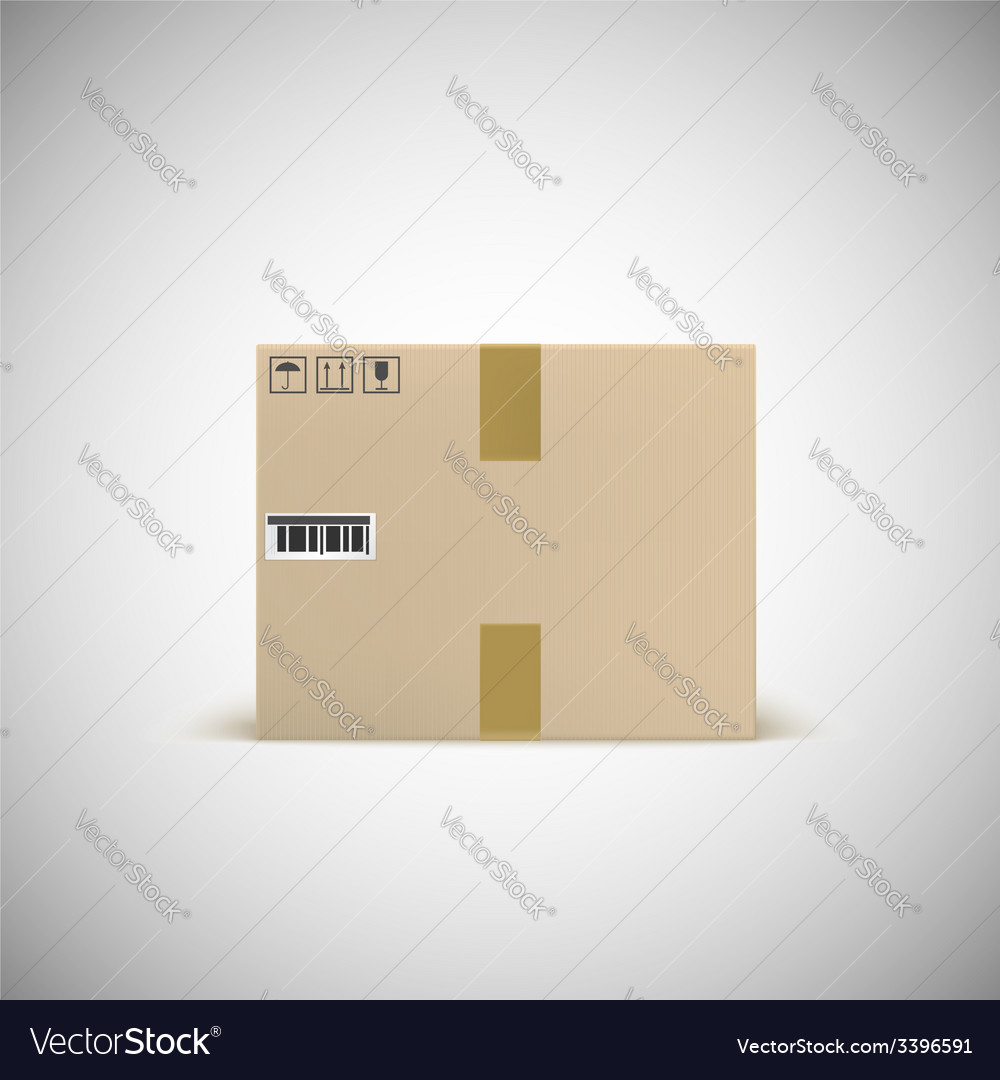 Sealed cardboard box with barcode tape and traffic vector | Price: 1 Credit (USD $1)