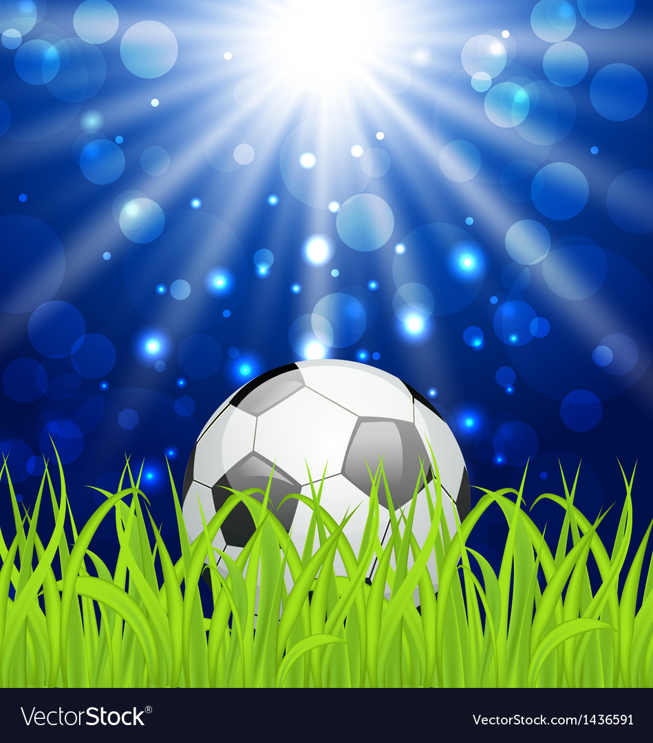 Soccer ball on green grass with shine effect vector | Price: 1 Credit (USD $1)