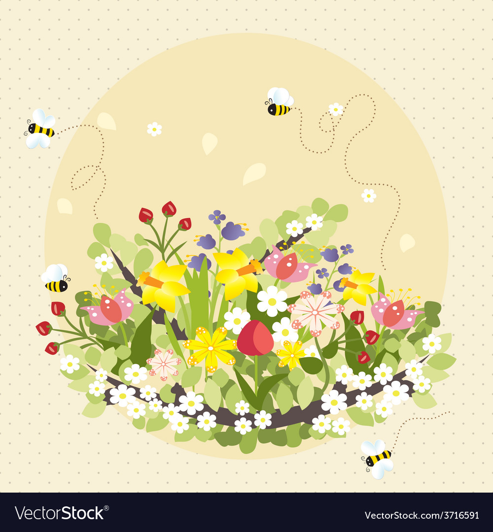 Vintage spring flowers bee nature garden vector | Price: 1 Credit (USD $1)