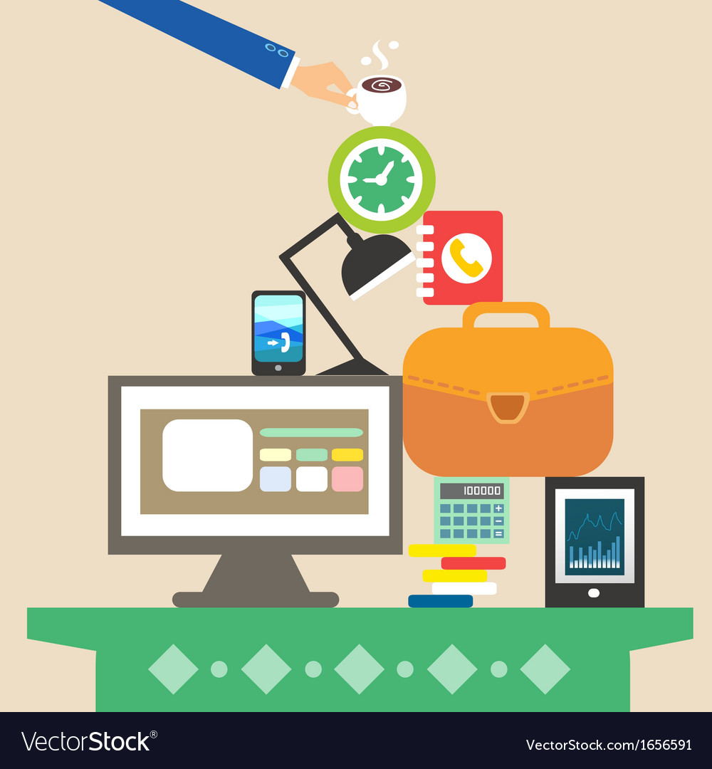Workplace and business objects for hard work vector | Price: 1 Credit (USD $1)
