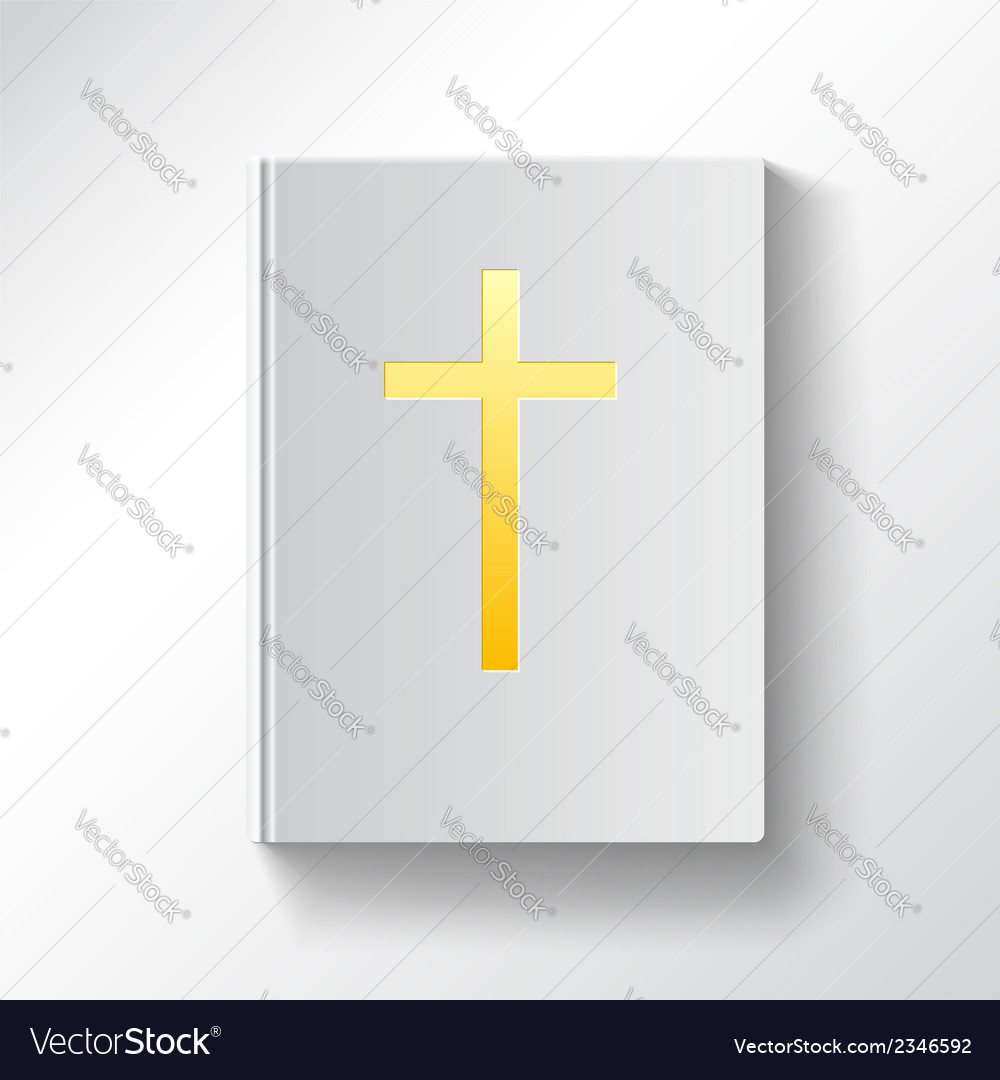 Book with a gold cross top view vector | Price: 1 Credit (USD $1)