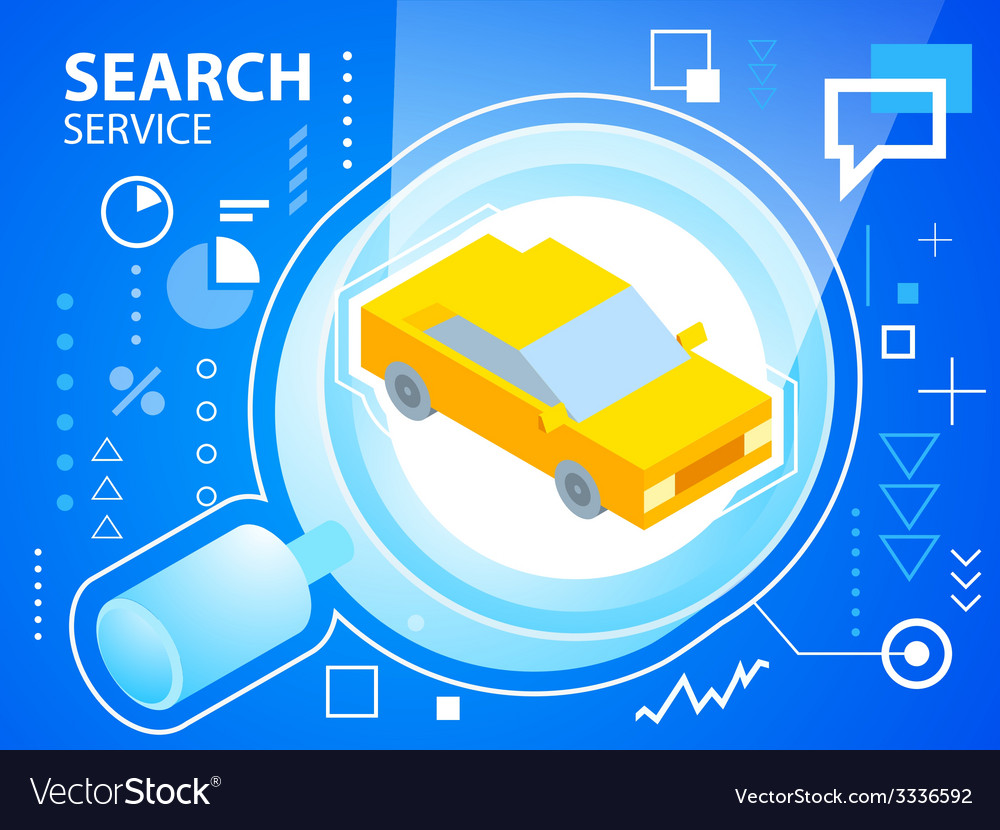 Bright glass search and car on blue backgrou vector | Price: 3 Credit (USD $3)