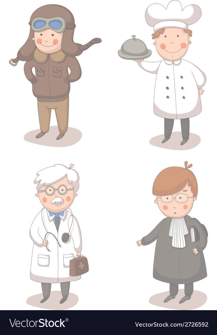 Cartoon set of four different occupations vector | Price: 1 Credit (USD $1)