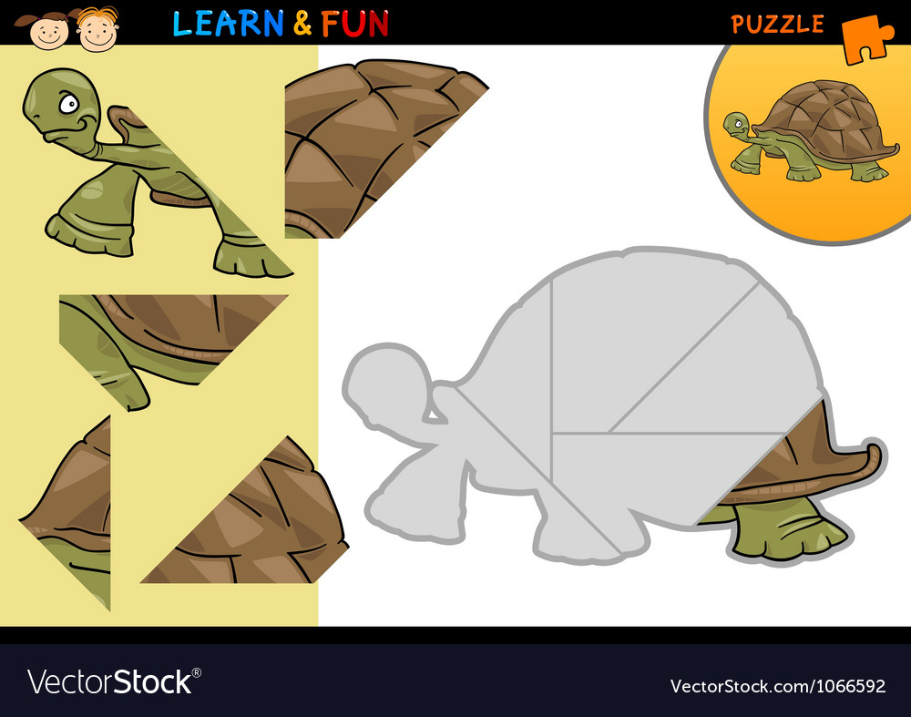 Cartoon turtle puzzle game vector   Price: 3 Credit (USD $3)
