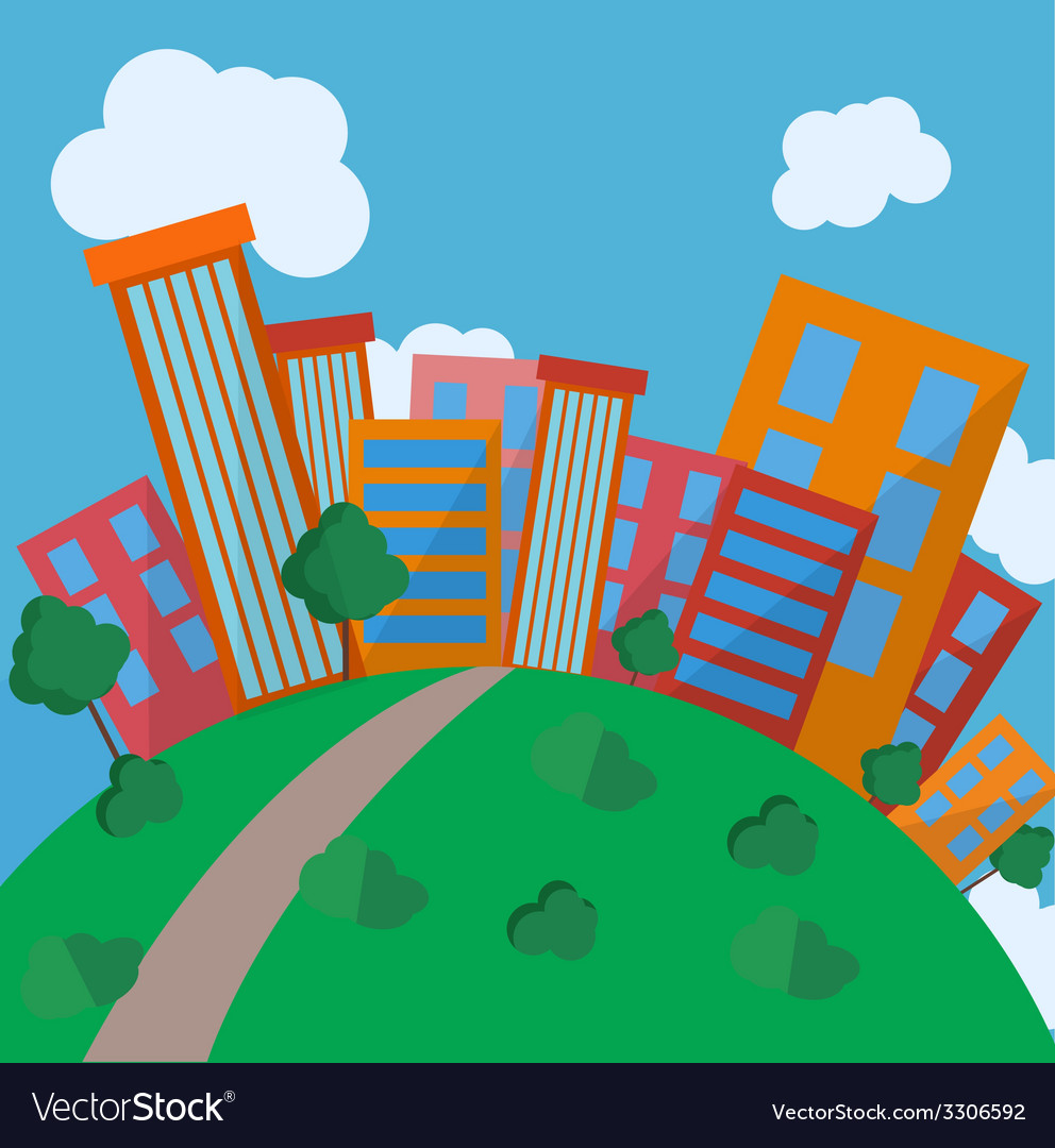 Flat style urban landscape in day vector | Price: 1 Credit (USD $1)