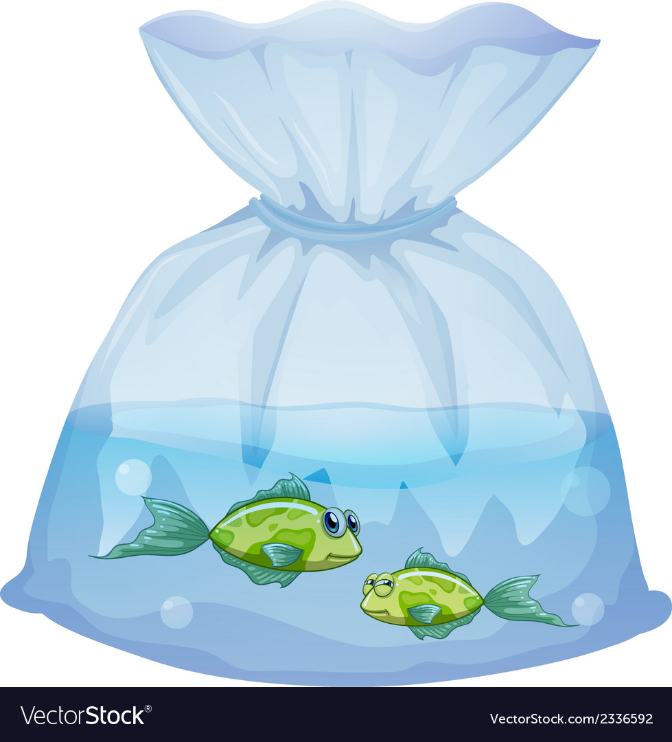Green fishes inside the plastic pouch vector | Price: 1 Credit (USD $1)