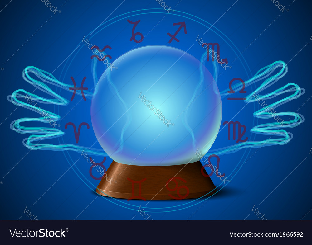 Magic ball with fortune teller hands and zodiac vector | Price: 1 Credit (USD $1)