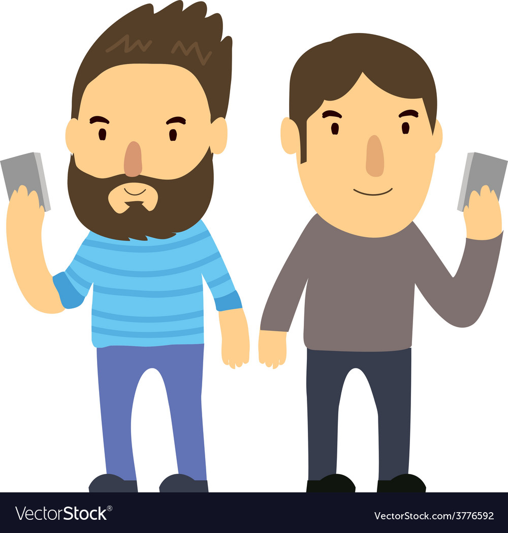 Man look phone vector | Price: 1 Credit (USD $1)
