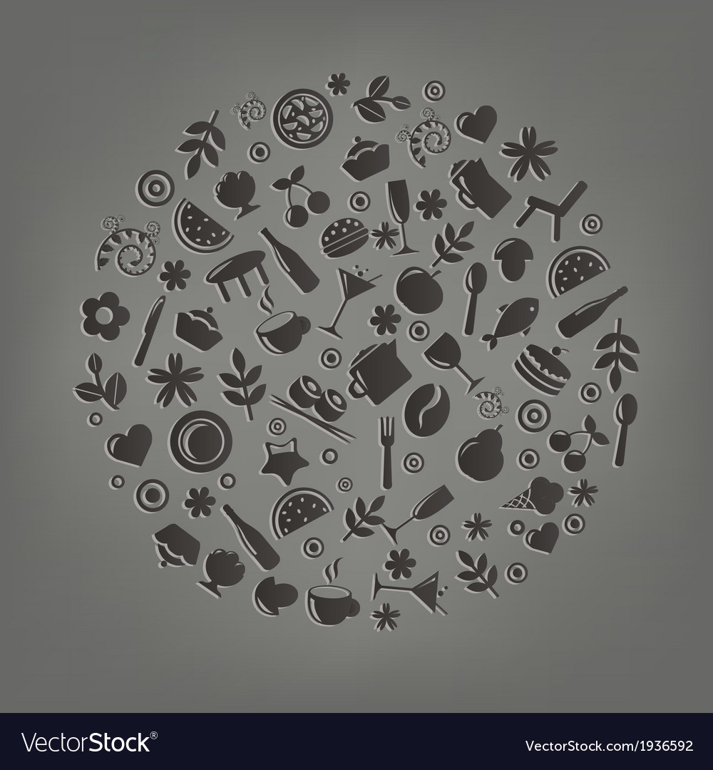 Restaurant icons in form of sphere vector | Price: 1 Credit (USD $1)