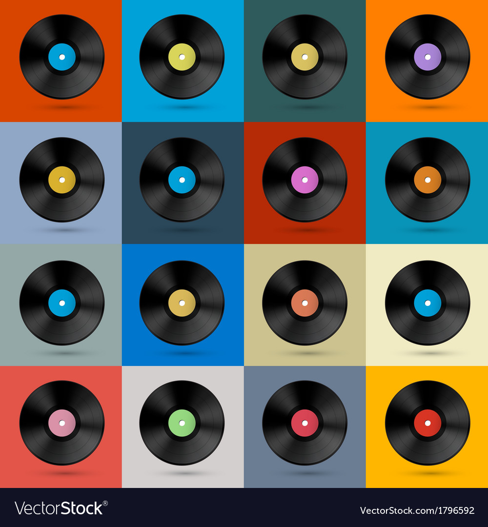 Retro vintage vinyl record disc background vector | Price: 1 Credit (USD $1)