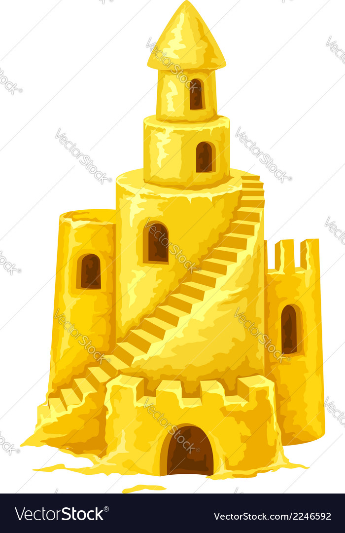 Sand castle with towers vector | Price: 1 Credit (USD $1)