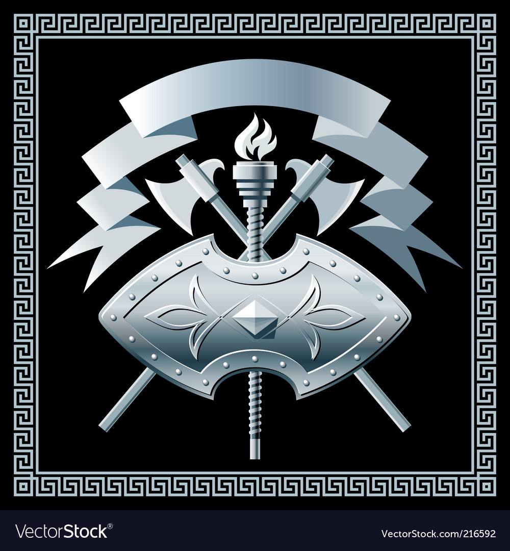 Shield with cross battleaxes vector | Price: 1 Credit (USD $1)