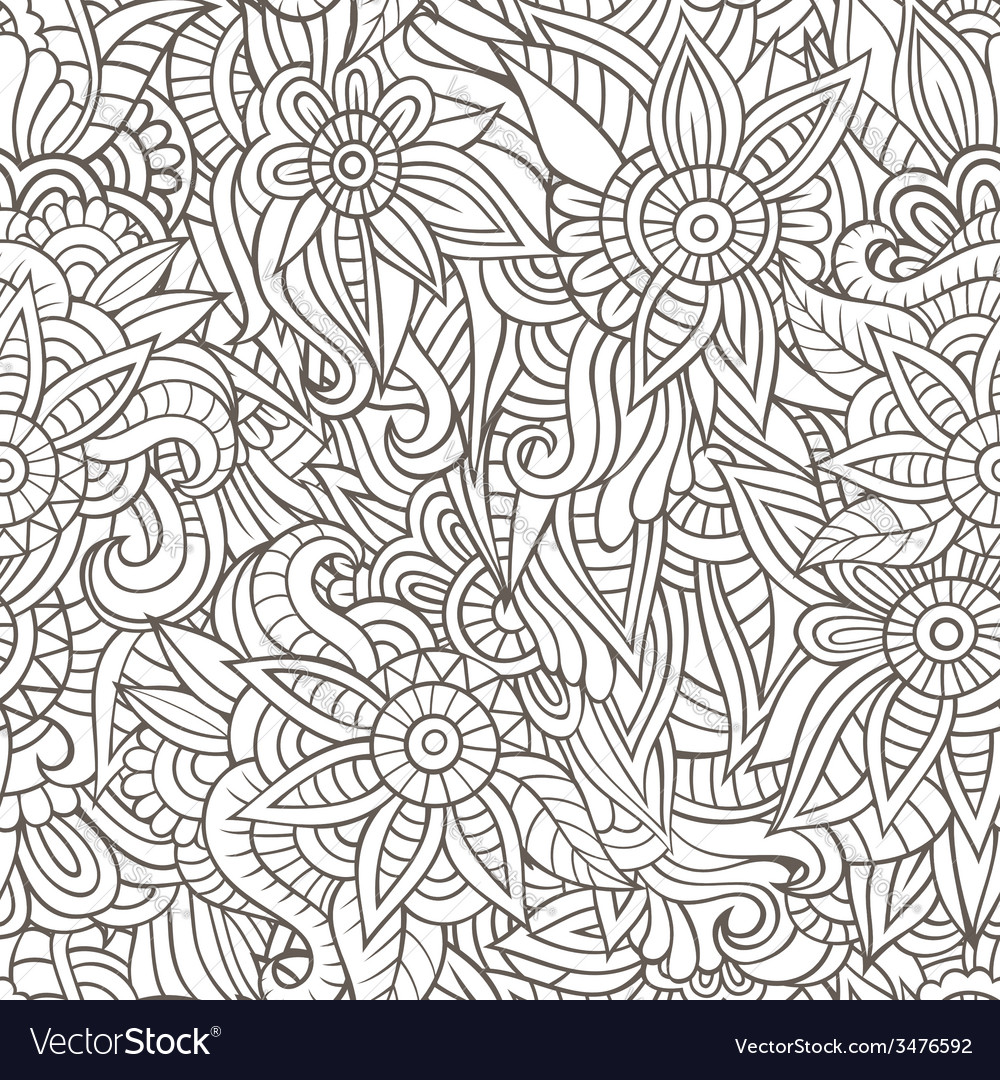 Sketchy doodles decorative floral outline vector | Price: 1 Credit (USD $1)