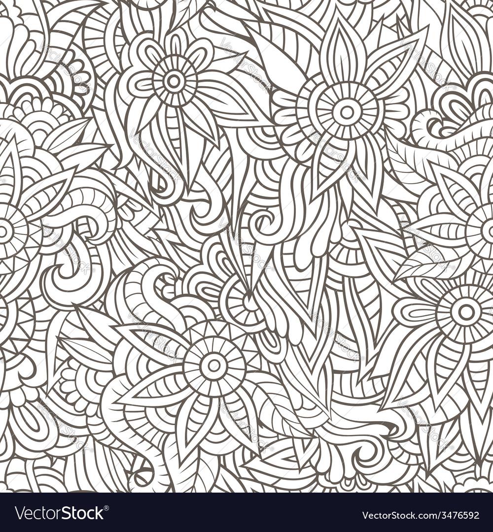 Sketchy doodles decorative floral outline vector | Price: 1 Credit (USD $1)