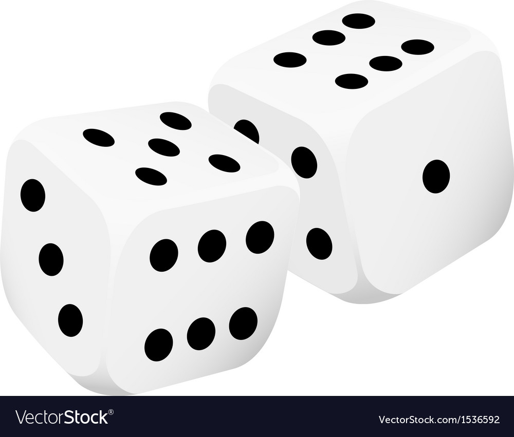Two white dice vector | Price: 1 Credit (USD $1)