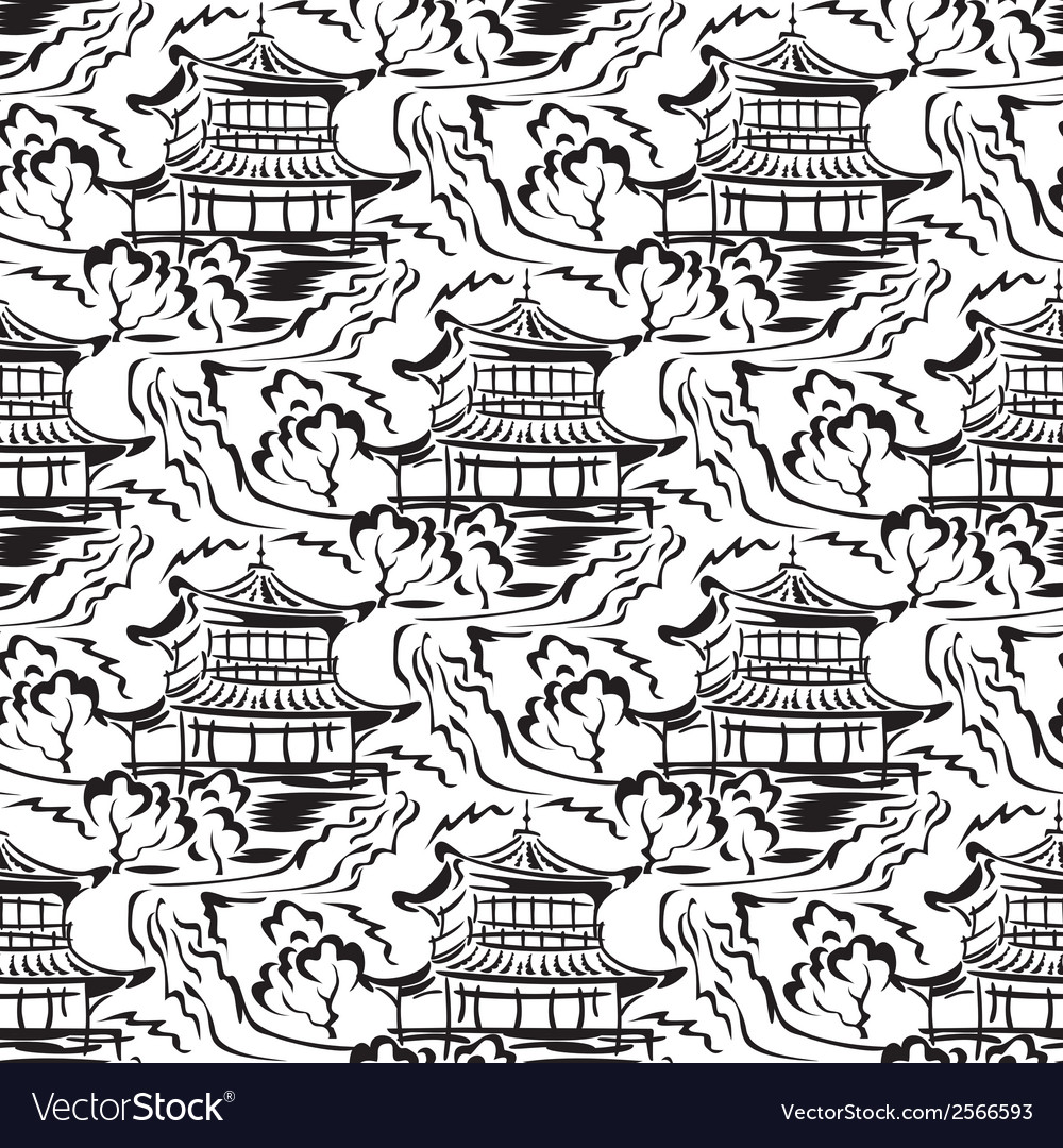 Asian temple seamless vector | Price: 1 Credit (USD $1)