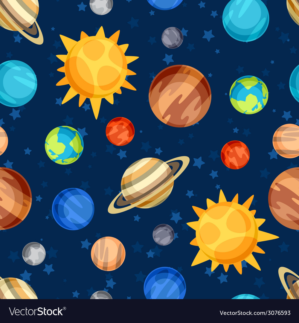 Cosmic seamless pattern with planets of the solar vector | Price: 1 Credit (USD $1)