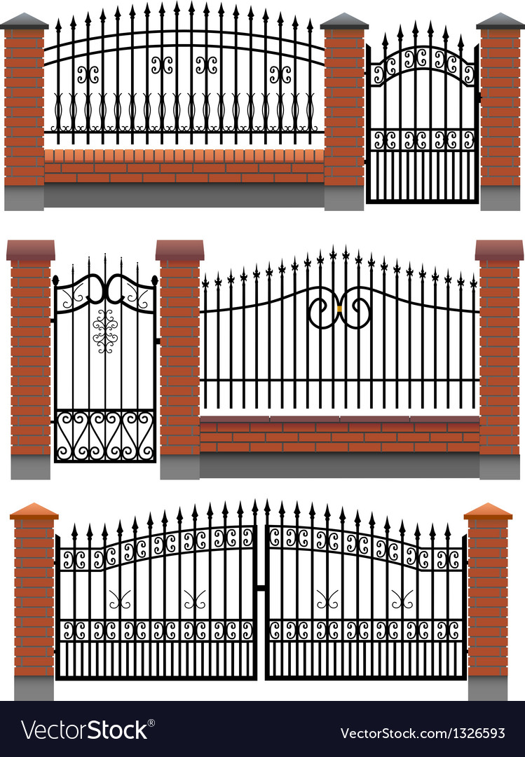 Gate and fences with brick columns and lattice vector | Price: 1 Credit (USD $1)