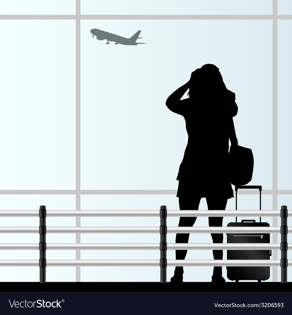 Girl with a travel bag at the airport vector | Price: 1 Credit (USD $1)