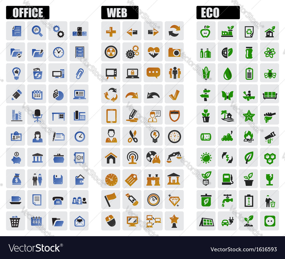 Office web and eco icons vector | Price: 1 Credit (USD $1)