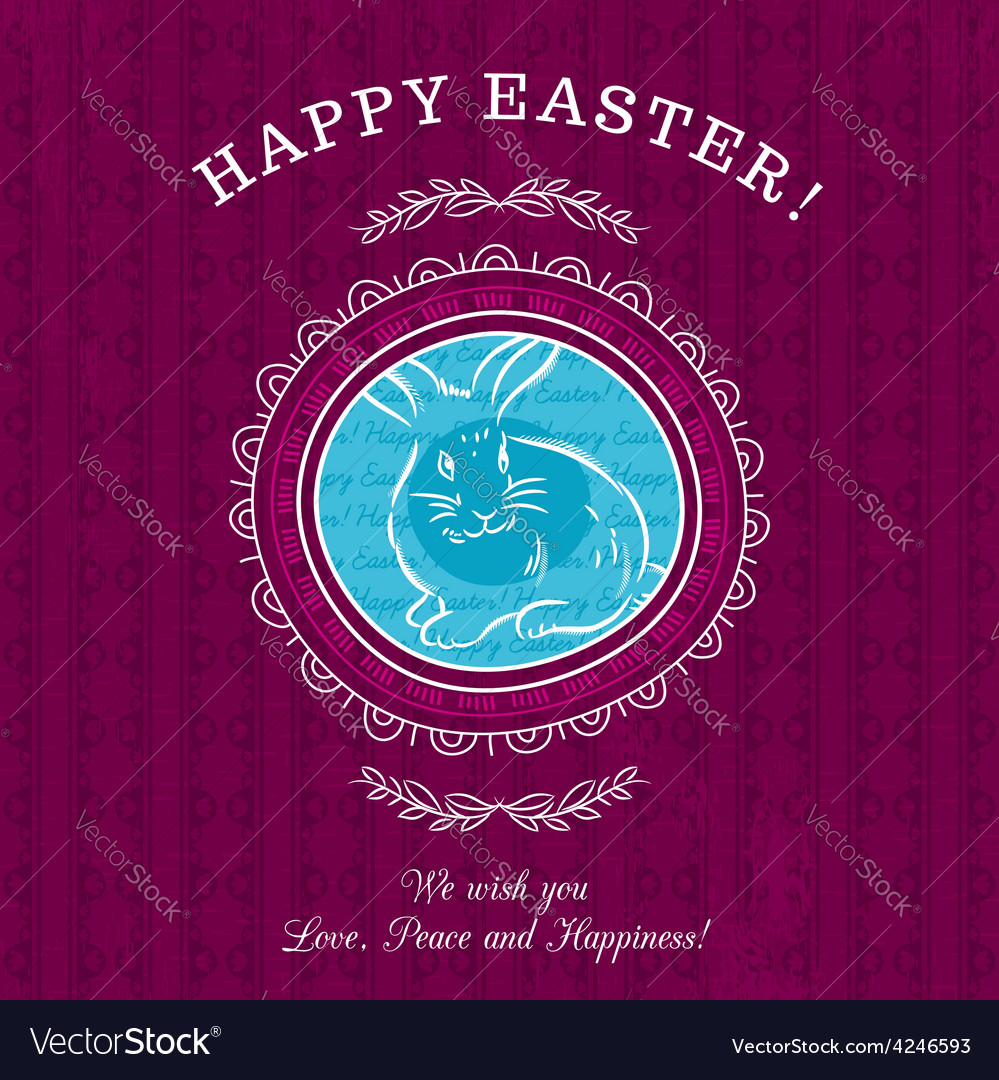 Purple greetings card for easter day with rabbit vector | Price: 1 Credit (USD $1)
