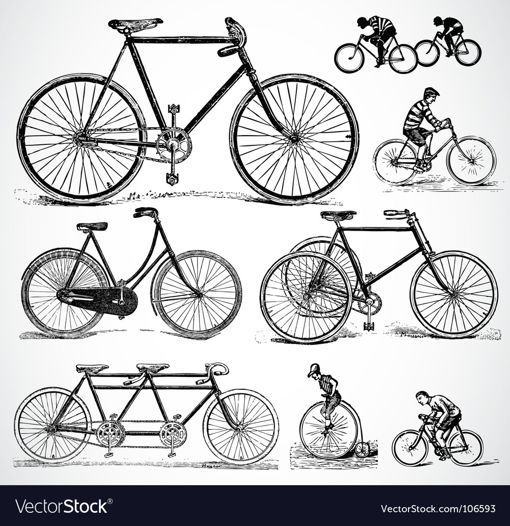 Retro bikes vector | Price: 1 Credit (USD $1)