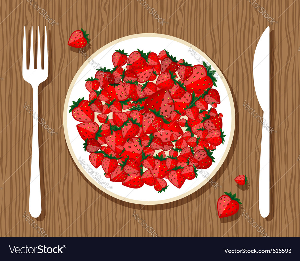 Strawberries on plate vector | Price: 1 Credit (USD $1)