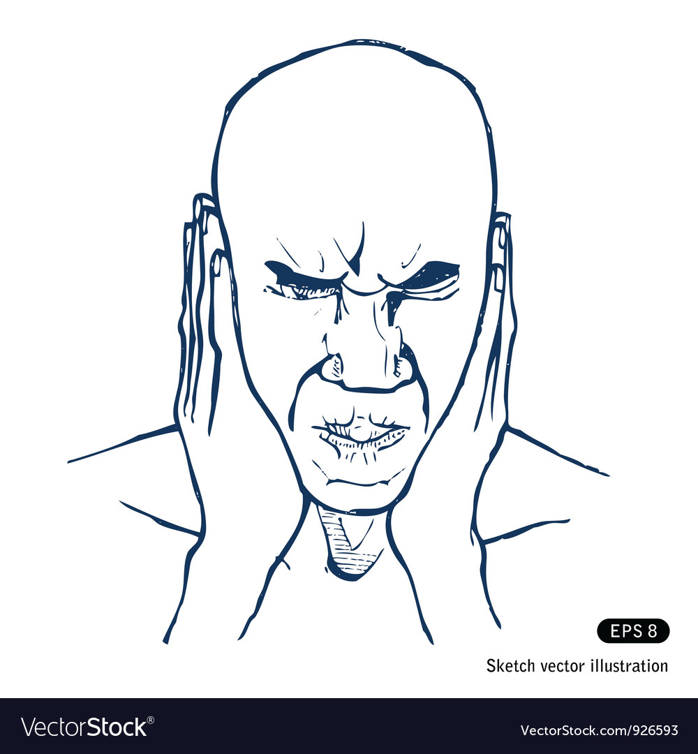 Stressed man vector | Price: 1 Credit (USD $1)