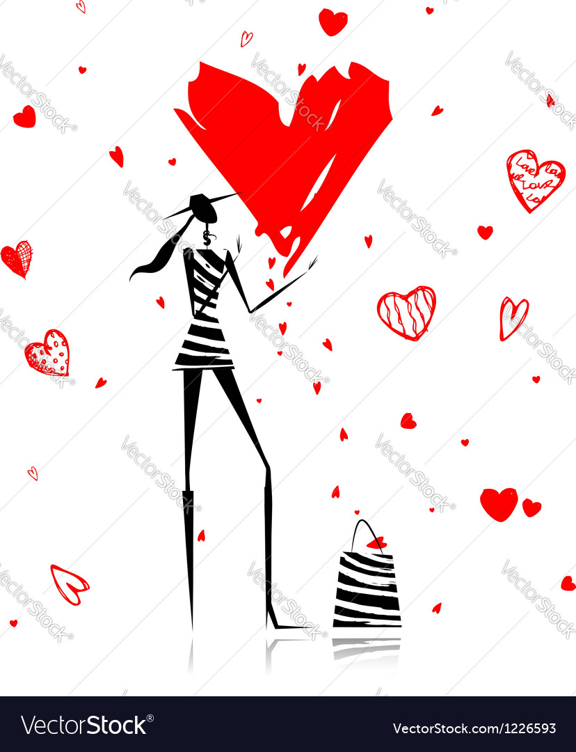 Valentine day fashion girl with big red heart vector | Price: 1 Credit (USD $1)