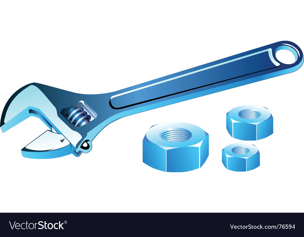 Adjustable spanner with screws vector | Price: 1 Credit (USD $1)