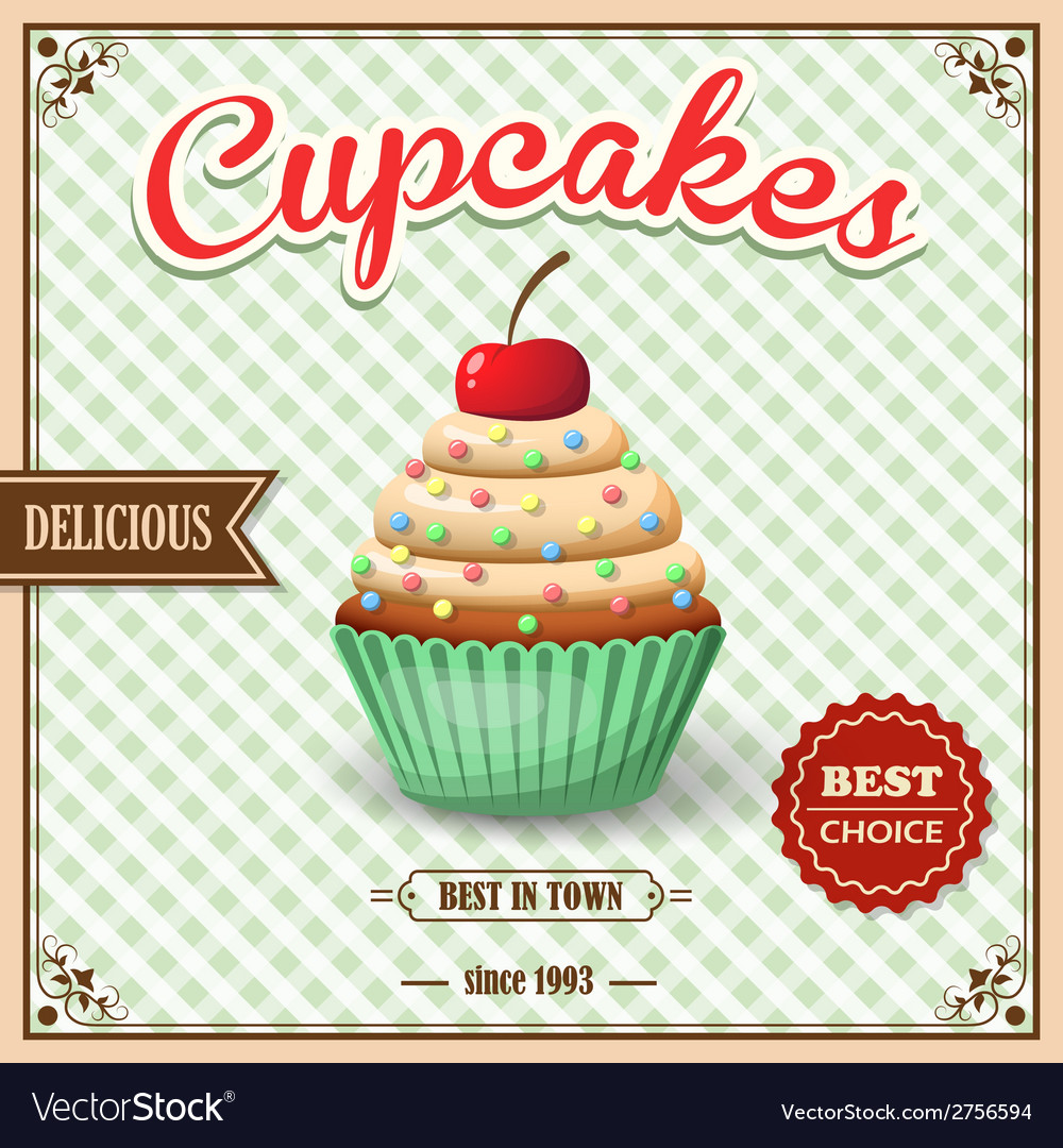 Cupcake cafe poster vector | Price: 1 Credit (USD $1)