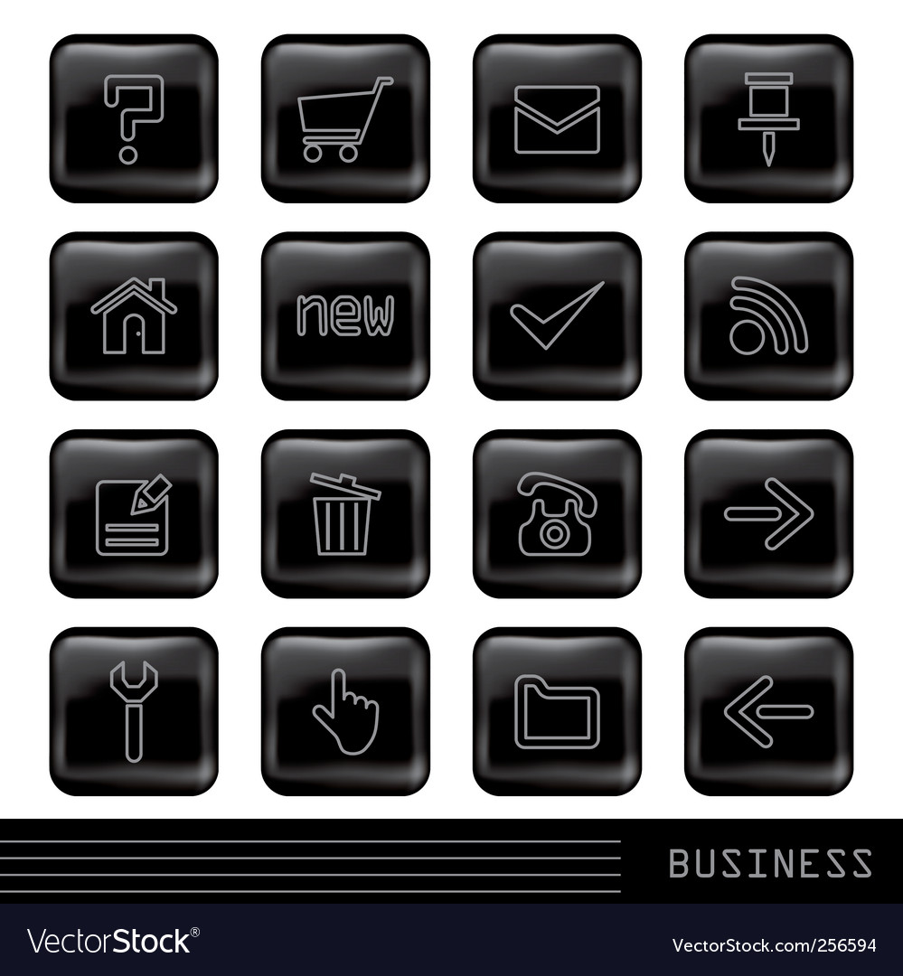 Glossy black icons set vector | Price: 1 Credit (USD $1)