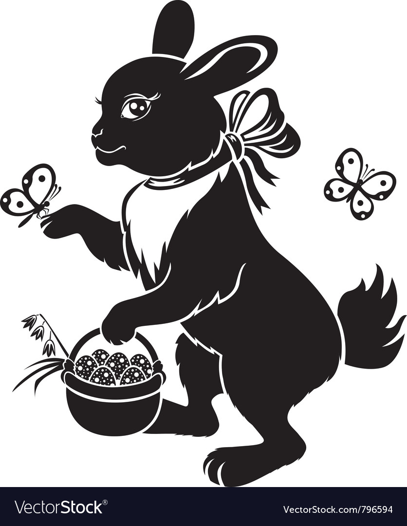 Hare with basket vector | Price: 1 Credit (USD $1)