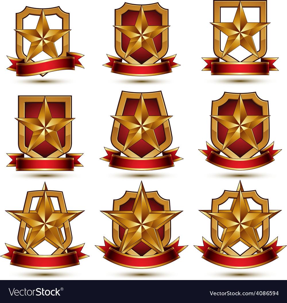 Set of geometric glamorous golden elements vector   Price: 1 Credit (USD $1)