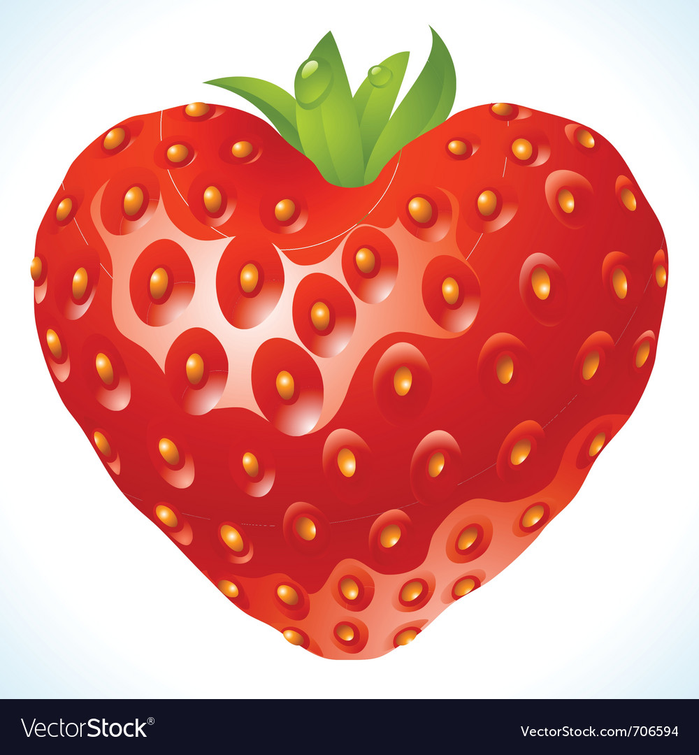 Strawberry heart vector | Price: 3 Credit (USD $3)