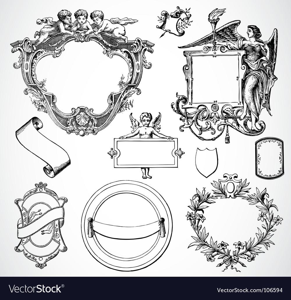 Victorian ornament set vector   Price: 1 Credit (USD $1)