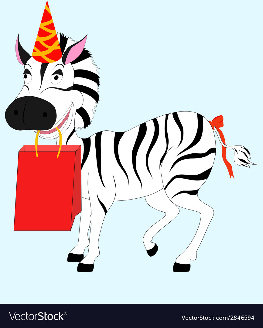 Zebra with gift vector | Price: 1 Credit (USD $1)