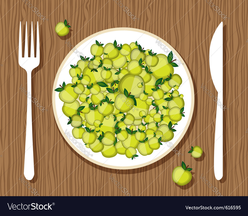 Apples on a plate vector | Price: 1 Credit (USD $1)