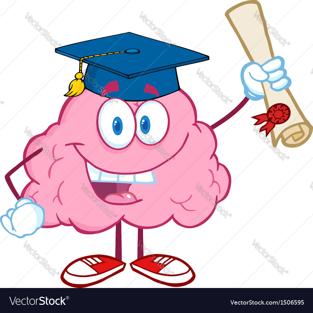 Brain character graduate holding up a diploma vector | Price: 1 Credit (USD $1)