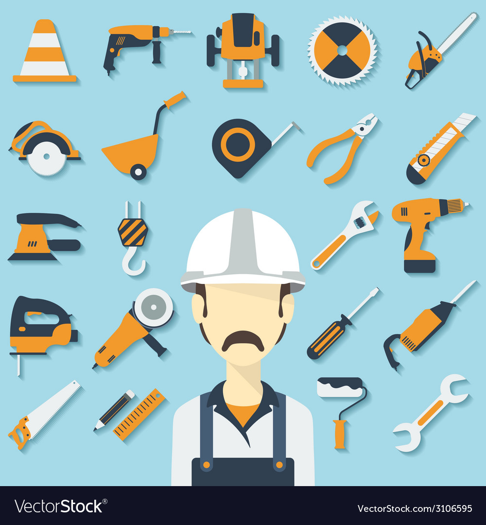 Construction concept with flat icons and builder vector | Price: 1 Credit (USD $1)