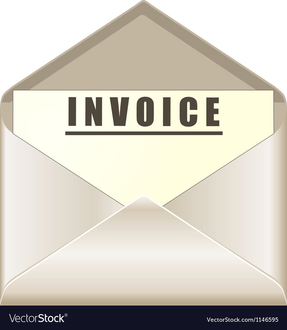 Envelope with invoice document vector | Price: 1 Credit (USD $1)