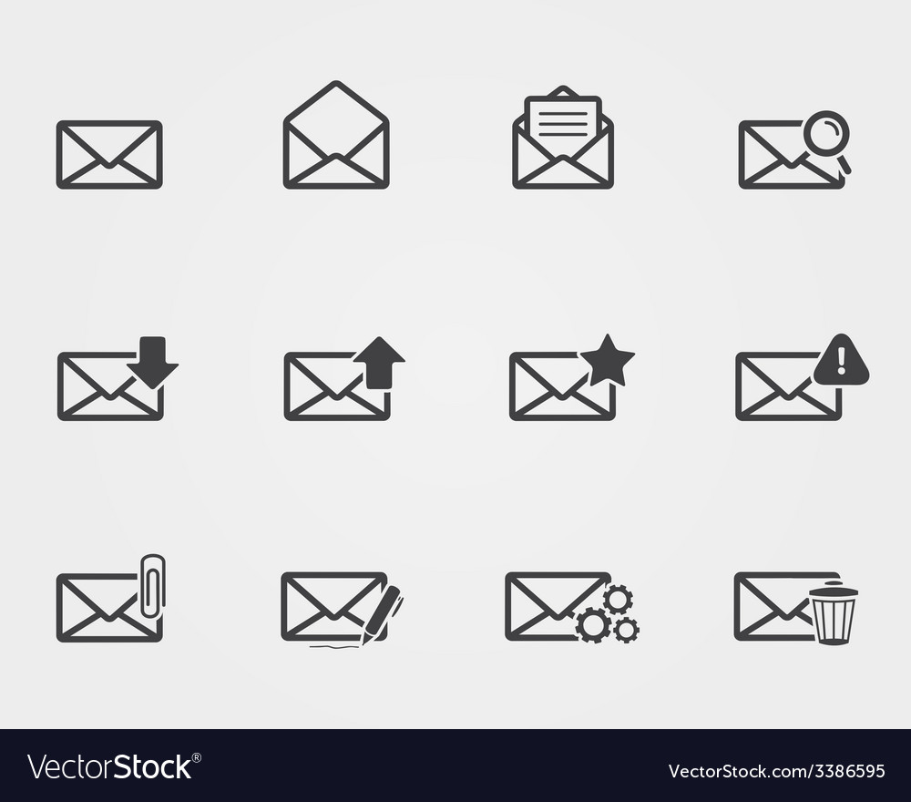 Flat black email icons set vector | Price: 1 Credit (USD $1)