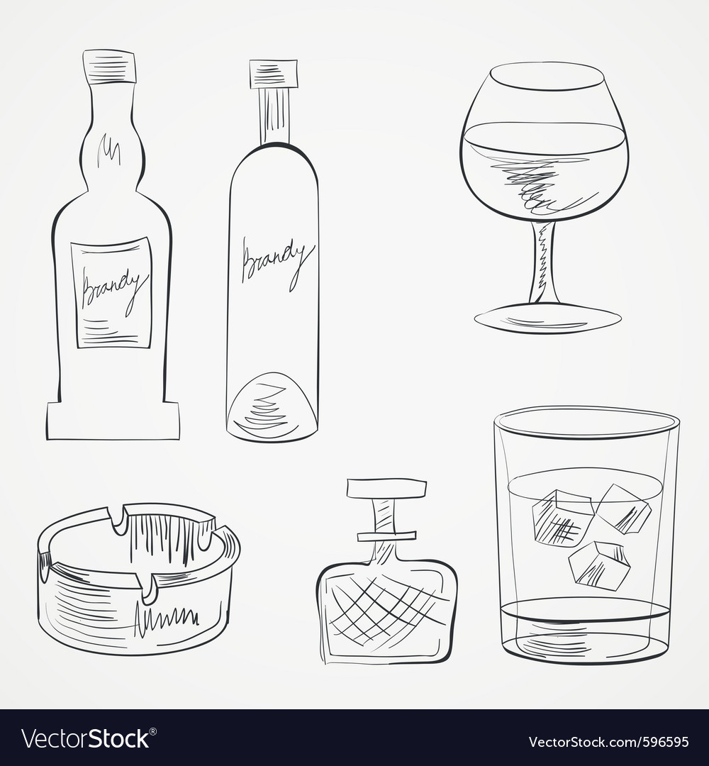 Set of glasses and whiskey bottles vector | Price: 1 Credit (USD $1)