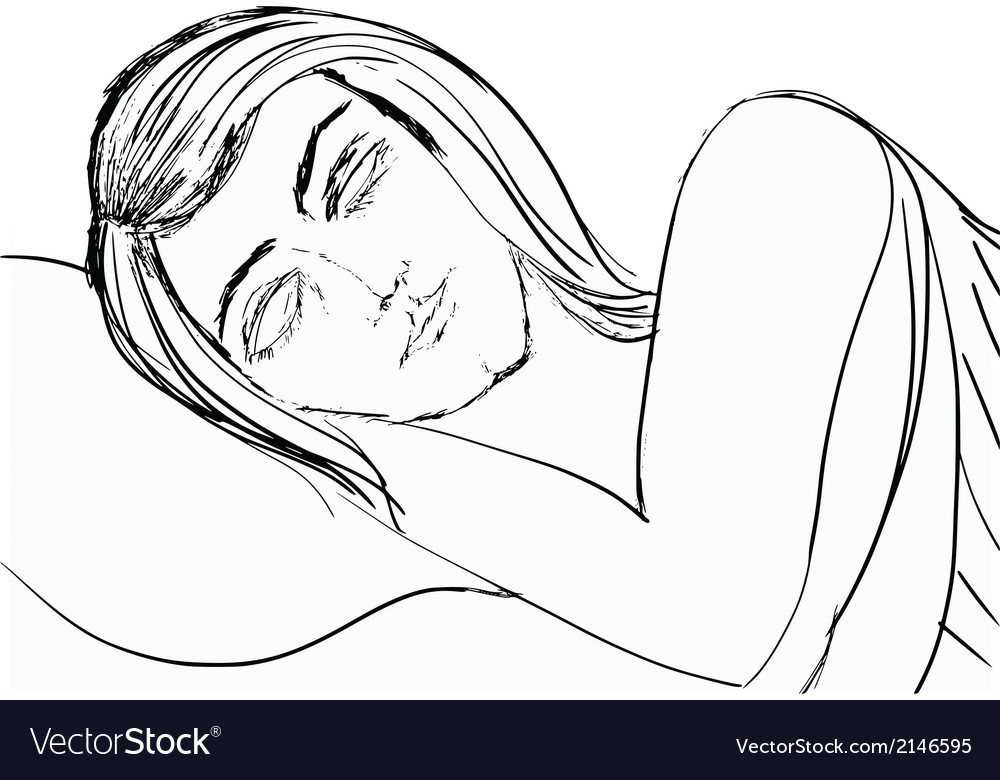 Sleeping woman vector | Price: 1 Credit (USD $1)