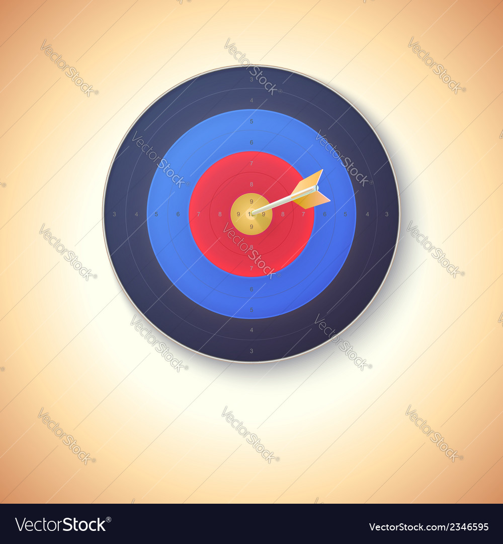 Target with arrow hitting in center vector | Price: 1 Credit (USD $1)