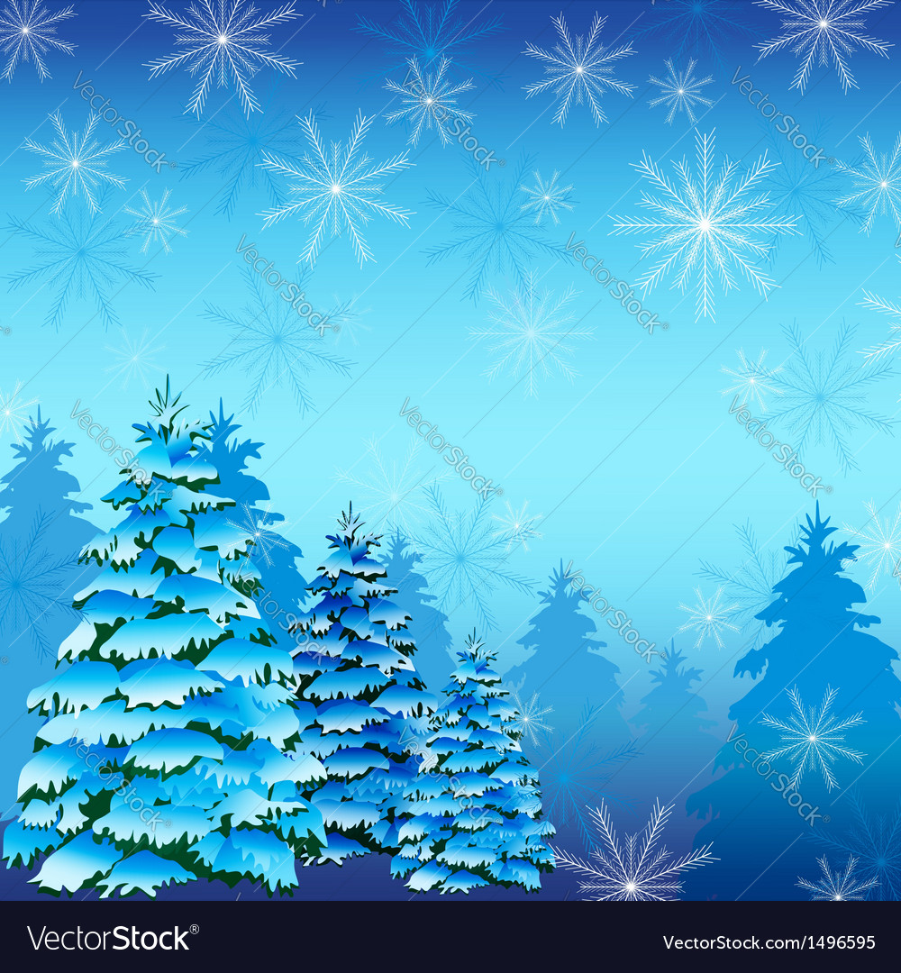 Winter background with fir tree and snowflakes vector | Price: 1 Credit (USD $1)