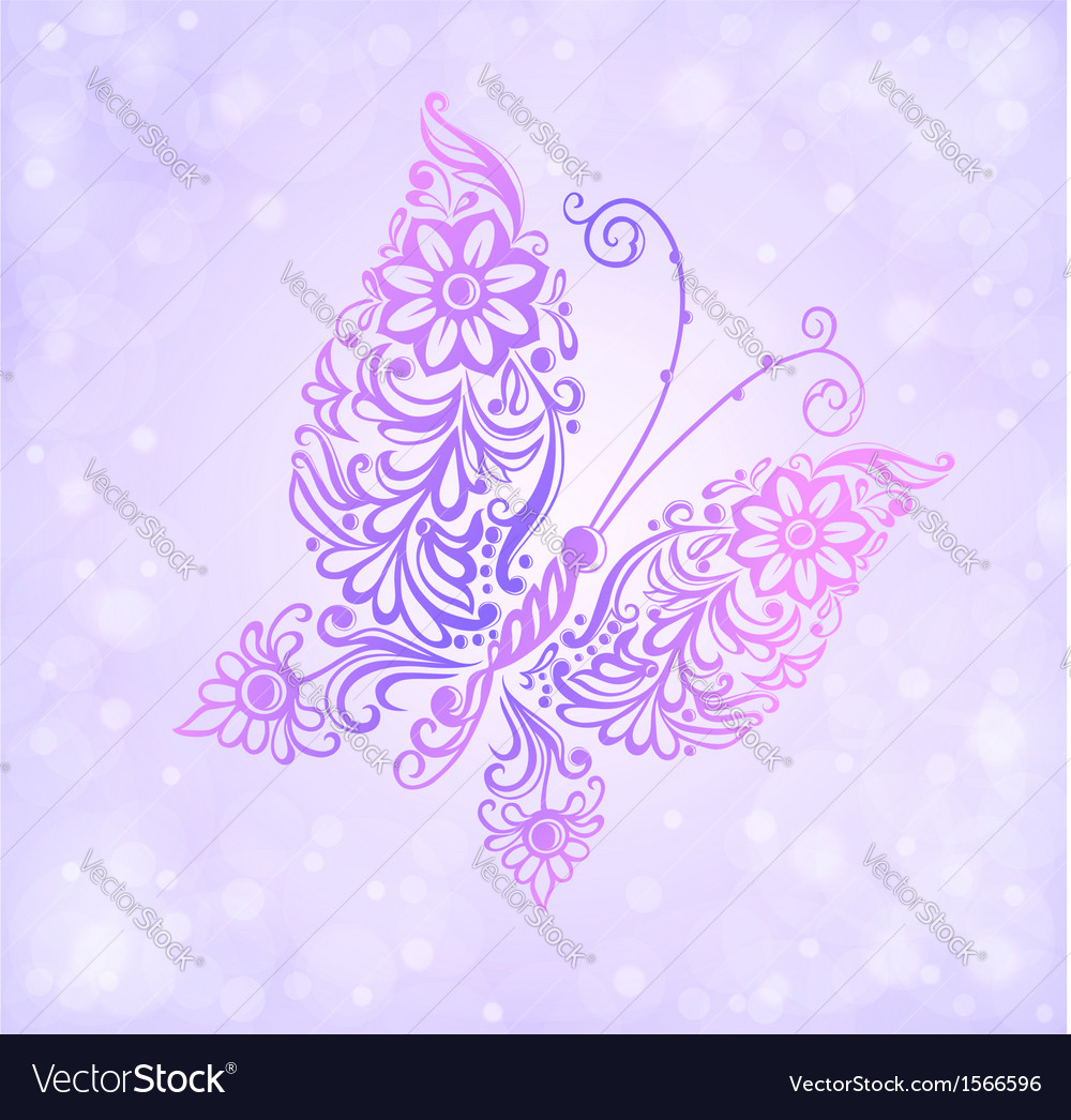 Beautiful purple butterfly flying vector | Price: 1 Credit (USD $1)